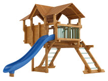 Covered wooden platform and slide Stock Photo