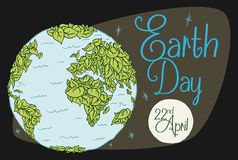 Covered World in Leaves for Earth Day with Moon, Vector Illustration. View from space of the planet covered all in foliage leaves, with the moon, stars and sign Royalty Free Stock Images