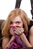 Covering face with scarf Stock Image