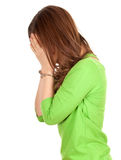 Covering face woman with handcuffed hands Royalty Free Stock Images