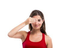 Covering one eye Royalty Free Stock Image