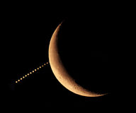 Covering the planet Jupiter by the Moon 15.07.2012 Stock Photos