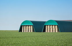 Coverings for hay bales Royalty Free Stock Photo