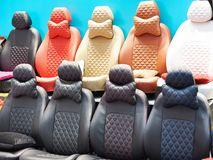 Covers for car seats in store royalty free stock image