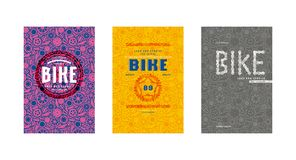 Covers design for bike shop catalog. Seamless pattern and emblems. Bright color print Stock Photo