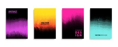 Covers design set with modern abstract color gradient patterns and black color. Templates collection. Covers design set with modern abstract color gradient royalty free illustration