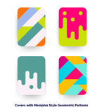 Covers with flat geometric background. Cool colorful backgrounds. Applicable for Banners, Playcards, Posters, Flyers, Phone covers. Memphis styled background royalty free illustration