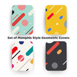 Covers with flat geometric pattern. Cool colorful backgrounds. Applicable for Banners, Playcards, Posters, Flyers, Phone covers. Memphis styled background vector illustration