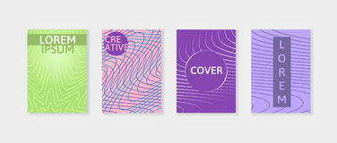Covers with geometric lines. Applicable for Banners, Placards, Posters and Flyers. Minimal covers design set. Royalty Free Stock Image