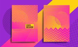 Covers with geometric pattern, bright. Gradient, yellow and pink color, stripes. Template for business catalog, billboard, advertising module. Shapes with Stock Photo