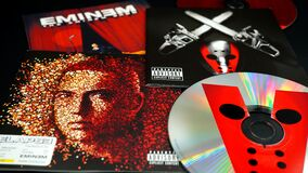 Free Covers Of CDs By American Rapper, Songwriter, Record Producer, Film Producer, And Actor, EMINEM. One Of The Greatest And Most Infl Stock Image - 191231101