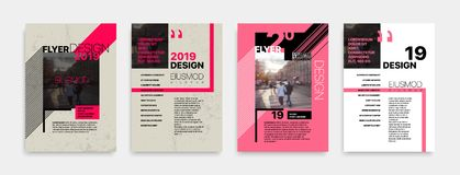 Covers templates set with bauhaus style graphic geometric elements. Applicable for flyer, cover annual report, placards, brochures, posters, banners. Vector vector illustration