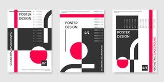 Covers templates set with trendy geometric patterns Royalty Free Stock Photos