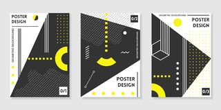 Covers templates set with trendy geometric patterns Stock Image