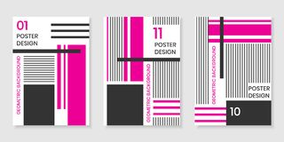Covers templates set with trendy geometric patterns, magenta,black,white colors and different elements Royalty Free Stock Images