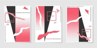 Covers templates set with trendy geometric patterns, red,black,white colors elements. royalty free stock photo