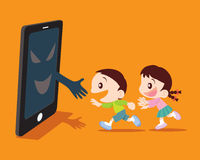 Covert disaster from smartphone concept illustration. Covert disaster for Children with a smartphone concept illustration Royalty Free Stock Image