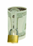 Covert glance from banknote. Money protected by locked padlock Stock Photography