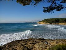 coves and forest of La Marquesa in Tarragona Stock Photos