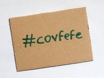 Covfefe, новое слово изобретенное президентом Козырем Стоковые Изображения