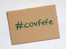 Covfefe, новое слово изобретенное президентом Козырем Стоковые Изображения RF