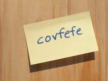 Covfefe, новое слово изобретенное президентом Козырем Стоковые Фото