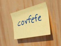 Covfefe, новое слово изобретенное президентом Козырем Стоковая Фотография