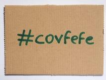 Covfefe, новое слово изобретенное президентом Козырем Стоковое Изображение