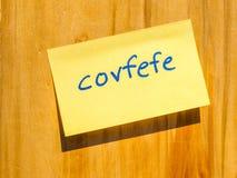 Covfefe, новое слово изобретенное hdr президента Козыря Стоковая Фотография RF