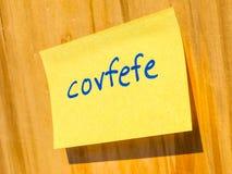 Covfefe, новое слово изобретенное hdr президента Козыря Стоковые Изображения RF