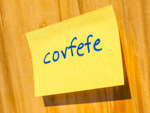 Covfefe, a new word invented by President Trump hdr Royalty Free Stock Images