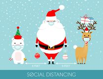 Free COVID-19 And Social Distancing Infographic With Cute Christmas Cartoon Character. Stock Photography - 198437402