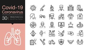 Free Covid-19 / Corona Virus Icons. Modern Line Design. World Health Organization WHO Introduced New Official Name For Coronavirus Stock Photo - 176525030