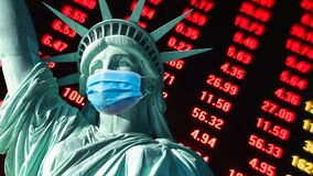 Free COVID-19 Coronavirus In USA,America Stock Market Display Screen Statue Of Liberty With Face Mask Royalty Free Stock Images - 188756049