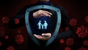 Free Covid-19 Or Corona Virus Situation Concept. Insurance For Family. Protected By Gesture Hand And Safety Shield Stock Photography - 176419232