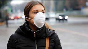 Free COVID-19 Pandemic Coronavirus Woman In City Street Wearing Face Mask Protective For Spreading Of Disease Virus SARS-CoV-2. Girl Wi Royalty Free Stock Photo - 170732765