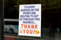 Free COVID-19 Pandemic: Thank You Poster In A Window Stock Photos - 187242913