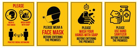 Free Covid-19 Prevention Signs All In One Graphic Design Stock Photos - 186651133