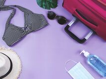 Free COVID-19 Prevention , Summer And New Normal Concept, Top View Of   Bikini Swimsuit And Women`s Vacation Accessories With Surgical Stock Image - 191388841