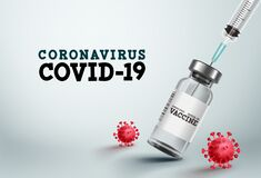 Free Covid-19 Vaccine Vector Banner. Covid-19 Vaccine Bottle And Injection Syringe Stock Photography - 183592492