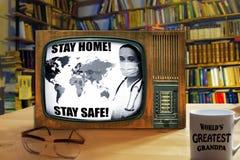 COVID 19 alert on old TV