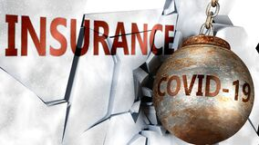 Free Covid And Insurance,  Symbolized By The Coronavirus Virus Destroying Word Insurance To Picture That The Virus Affects Insurance Royalty Free Stock Images - 178096739