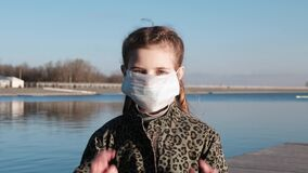 COVID-2019. Child wearing a face mask
