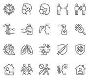 COVID-19 Coronavirus line icon set. COVID-19 line icon collection. COVID-19 Web icon.