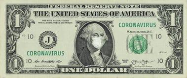 COVID-19 coronavirus in USA. One american dollar