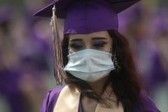 2020 graduate wears face mask