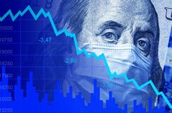 COVID-19 impacts to business, dollar money and graph of stock market crash during coronavirus pandemic. World economy hits by