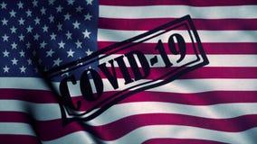 Covid-19 stamp on the national flag of USA. Coronavirus concept