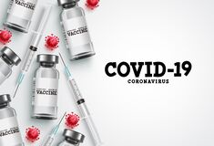Covid-19 vaccination vector background. Covid19 coronavirus vaccine bottles and syringe injection