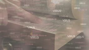 Covid-19 and virus text against hands touching and reading bible